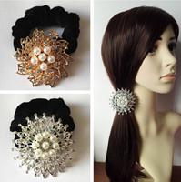 Hotsale Beautiful CZ Pearl Decor Gold/ Silver Flower Elastic Hair ties/ Hair Ropes Fashion Hair Accessories