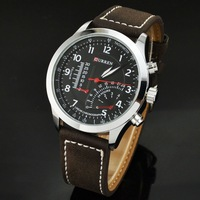 Men's CURREN Faux Leather Strap Band Quartz Analog Wrist Watch