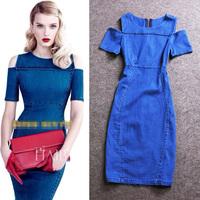 Best Quality!New 2015 Spring Summer Denim Women Sexy Off Shoulder Cotton Denim Dress Ladies Casual Holiday Slim Jean Dress Girl