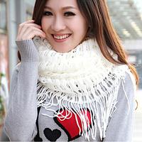 New style Senior elegant tassel muffler scarf soft knitted yarn girls fashion scarf