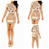 2015 Fashion sexy dress print elastic slim one-piece dress women casual dress vestidos yh9066