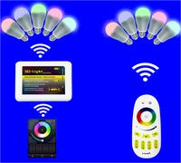 10pcs 9W 2.4Ghz RF LED RGBW Bulb + 1 piece 2.4Ghz RGBW 4-zone led touch remote(Mi-Light)+WIFI adaptor