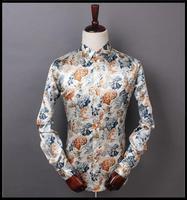 High-End Men's Long sleeve Shirt 2015 Spring Clothing Shirt Men Long Sleeve Fit Flowers Shirt Emulation Silk Men's Shirts