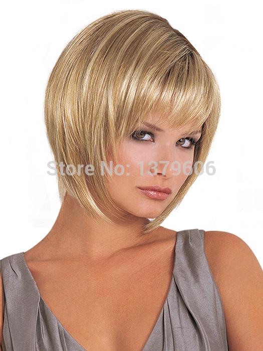 Celebridade Color Mix # 613 curto Bob penteado completa Bangs cabelo sintético máquina feita nenhum Lace Wigs(China (Mainland))