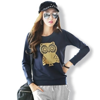 T-shirt bottoming autumn and winter 2015 new women's fashion women's t-shirt owl loose thin section hedging sweater