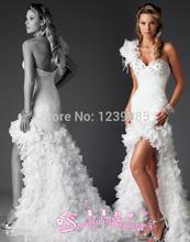 EW009 Charming One Shoulder Sweetheart Beaded Crystals Ruffles Sweep Train High Low Short Wedding Dresses Romantic