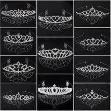 2014 HOT boda dama de honor nupcial Tiara corona cinta para la cabeza corazón flores niñas amor cristal Rhinestone fiesta j