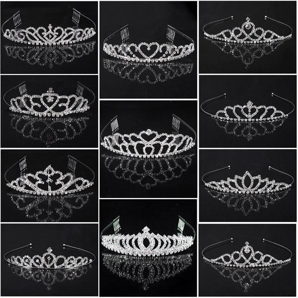 2014 HOT Wedding Bridal Bridesmaid Tiara Crown Headband Heart Flower Girls Love Crystal Rhinestone Party Jewelry 6 styles(China (Mainland))