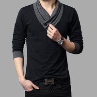 Mens Fashion Designer Cross Line Slim Fit Dress man Shirts Tops Western Casual Brand casual V-neck long-sleeved t-shirt