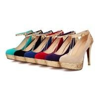 plus size eur 32-43 girls glitter sexy high heels fashion ladies wedding shoes woman platform women ankle strap pumps SD140391
