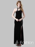 Fashionable side vent sexy long evening dress with crystal beading vestido de renda prom dress 2014 LF3