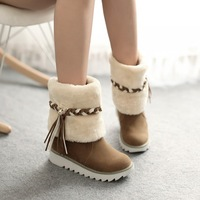 Flat heel shoes platform round toe ankle boots female thermal fur tassel boots,2014 new winter snow boots women,plus size34-43
