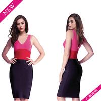 wholesale retail 1pcs/lot Fashion new women Stripe sleeveless V-Neck Zipper party cocktail Club Sexy Dress free shipping M L XL