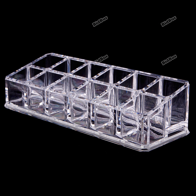 minibid Best choice 12 Squares Clear Cosmetic Case Jewelry Storage Lipstick Liner Brush Holder Hot promotion!(China (Mainland))