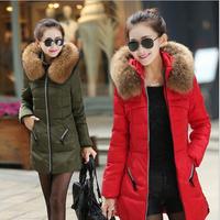 2014 New Hoodie winter parka women's wadded fur coat outerwear women long plus size thick cotton-padded jacket overcoat L-4X
