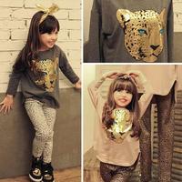 Retail 2015 new arrive girls set long sleeves t shirt +Leopard grain pants cloth set girls clothing suit children clothing set