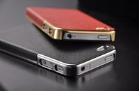 New Luxury Leather with Gold and Silver Frame Chrome Hard Back Case Cover For iPhone 4S and Leather case for iphone 4