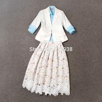 New 2015 spring summer women runway elegant fashion brand women linen white blazer + shirt + lace mid-calf skirt suits with belt