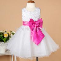vestidos comunion  Prom 2015  Big Bow Ball Dress Girl Wedding Party Dress wedding party Dresses white wedding dress girls