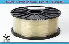 Transparent Natural 3D printer filament PA Nylon1.75mm 3.0mm 1kg/2.2lbs Consumables  for MakerBot/RepRap/UP/Mendel 3D Printer