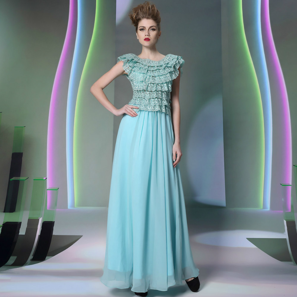 2014 new arrival in stock Free shipping girls lace long prom dress long for prom party and cocktail party(China (Mainland))