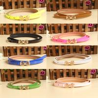 9 Colors New Fashion Women'S Lady PU Leather Thin Narrow Bowknot Waist Belt Buckle Waistband Strap Drop Shipping WF-Belt-00148