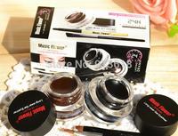 2 In 1 Waterproof Brown and Black Gel Eye Liner Set Makeup Tools 24Hours Long - Wear Gel Eyeliner With Brush Make up Sets