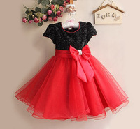 Retail New 2014 Baby Girl Wedding and Party Dresses,Hot big Bow dress Girl's Gorgeous Princess Dress