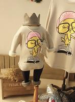 2015 Spring New In Family Cartoon Print Sweatshirt Mother and Daughter and Son Korean Style Velvet Basic Shirt