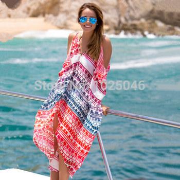 Новый 2015 мода женщины пляж платье сексуальный летом шифон широкий печать платья пляж бикини прикрыть праздник пляжная одежда, плавать прикрыть
