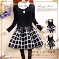 B360 x 2014 sweet women's o-neck long-sleeve bow pleated slim one-piece dress
