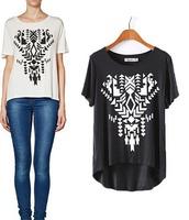 2015 European Style Women T-shirt Short Sleeve Geometry Printing Loose O-neck Summer Shirt Famous Brand Tops Blouse CL2257