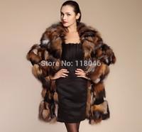 New 2014 winter autumn fashion women genuine fox fur long coat jacket thicken plus size warm ladies furs overcoat slim coats