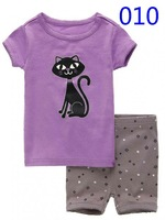 T0137 2015 New Cat design 100% Cotton Children's wear ,Baby short sleeve pajamas,Kids pyjamas boys girls sleepwear set 6set/lot