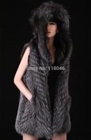 New winter autumn Luxury Women Fur Natural Silver Fox Fur Vest Coat Slim Ladies Vests Waistcoat Outerwear Jackets With Hood