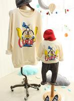 2015 Spring Family Cartoon Dog Print Sweatshirt Mother and Daughter and Son Korean Style Casual Cartoon Print Hoodies