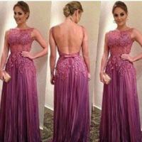 Noble Purple Lace Evening Dresses Vestido de noite Scoop neck Appliques Bow Backless Long Evening Gown Tarik Ediz Dress TQ-006