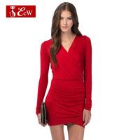 ECW 2015 Women Dress Party Dress Fashion Slim Solid Mini Bandage Dress Sexy V-Neck Spring Summer