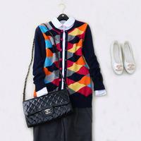 Free shipping colorful Prague plaid 100% cashmere sweater O-neck fleece women cardigan long women sweater knitted coat