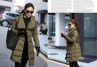 Loose big yards 2014 Female soft warm coat down cotton-padded jacket for women in long coat lady coat