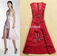 New 2015 spring autumn women fashion luxury brand ruby beading dress irregular sleeveless deep v-neck sexy dresses with belt
