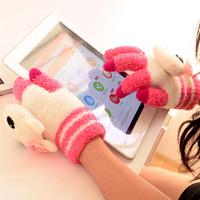 Fashion Women Touch Screen Gloves Plush Sensing Gloves Thick Warm Gloves with Cute Cartoon Animal