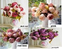 1 Boutique Silk Artificial Peony Rose Flowers Home Decoration Festival Party Flower Wedding Christmas Gift FLOWER-2301173