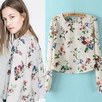2015 European Style Women Shirt Long Sleeve Chiffon Slim Short Bottoming Spring Summer Famous Brand Tops Blouse CL2265