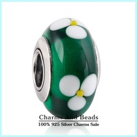 2014 New Green Glass Flowers Charms 925 Sterling Silver Murano Glass Charm For Women Fits Famous Brand DIY Bracelet Making Ht029