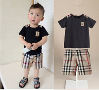 new Summer children clothing set baby boy set short Plaid O-neck sets baby suit baby set