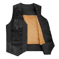 2014 new Hot warm men's wool lined with leather vest Autumn and winter outfit men's vest men vest