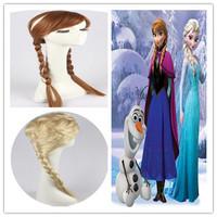 An free wig cap+an wig free shipping popular cartoon girl Hair Wigs children Cosplay Wigs Elsa / Anna princess white fluffy