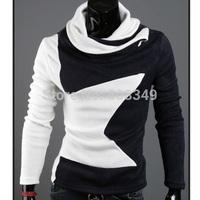 Korean style Men's slim fit 2 tone colors round the neck collar sweater