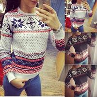 Autumn Warm Women Xmas Knit Jumper Hoodie Shirt Pullover Sweatshirt Tops blouse